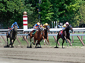 No Bull! Happy Bull strides out just past the quarter pole en route to victory in the 4th on Sunday July 24