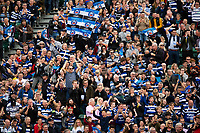Bath rugby supporters in the crowd celebrate a try. Heineken Champions Cup match, between Bath Rugby and Stade Toulousain on October 13, 2018 at the Recreation Ground in Bath, England. Photo by: Patrick Khachfe / Onside Images