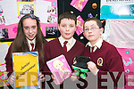 Moyderwell Primary School students Rachel McEniry, Sean Daly and Cathal OShea with their lucky bag company - they sold lucky bags on Science Day in their school for 1.50 each and made 236..