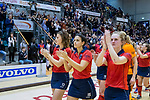 ROTTERDAM  - NK Zaalhockey . Finale Laren-HDM  (v) 1-2. Teleurstelling bij Pam van Asperen (l) , Macey de Ruiter en Elin van Erk na de verloren finale.   COPYRIGHT KOEN SUYK
