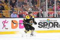 September 26, 2018: Boston Bruins right wing David Pastrnak (88) in game action during the NHL pre-season game between the Detroit Red Wings and the Boston Bruins held at TD Garden, in Boston, Mass. Detroit defeats Boston 3-2 in overtime. Eric Canha/CSM