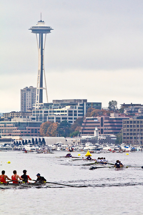 Rowing, Head of the Lake Regatta, November 2 2014, Seattle, Lake Union, Space Needle, Washington State, Lake Washington Rowing Club's Annual Regatta, Regatta Course, a  the 3 mile head race,  starts in Lake Union through Portage Bay past the University of Washington campus through the Montlake Cut and into Union Bay before reversing back to the finish and the Conibear Shellhouse. 457 crews from the Northwest and Canada participated.