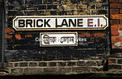 Brick Lane street road sign London E1. Tower Hamlets.