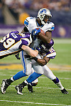 Minnesota Vikings defensive lineman Jared Allen (69) and defensive back Madieu Williams (20) tackle Detroit Lions tight end Branden Pettigrew (84) during an NFL football game in Minneapolis, Minnesota on September 26, 2010. The Vikings won 24-10. (AP Photo/David Stluka)