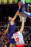 League ACB-ENDESA 2017/2018 - Game: 20.<br /> FC Barcelona Lassa vs Retabet Bilbao Basket: 90-58.<br /> Pierre Oriola vs Lucio Redivo.