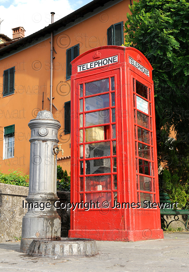 SAGRA DEL &quot;PESCE E PATATE&quot; 2011, BARGA, ITALY<br /> <br /> A RED TELEPHONE BOX THAT WAS GIFTED TO THE BARGA COMMUNITY BY MAURO CECCHINI FROM EDINBURGH.