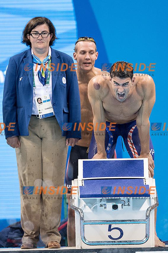 Team USA Phelps Michael USA<br /> 4x100 freestyle men<br /> Rio de JaneiroXXXI Olympic Games <br /> Olympic Aquatics Stadium <br /> Swimming finals 07/08/2016<br /> Photo Giorgio Scala/Deepbluemedia/Insidefoto