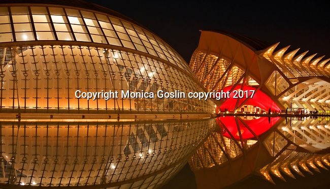 Museo de les Ciencies Principe Felipe and the Hemisferic at night; in the City of Arts and Sciences complex built in the former riverbed of Turia river; designed by Sanitago Calatrava
