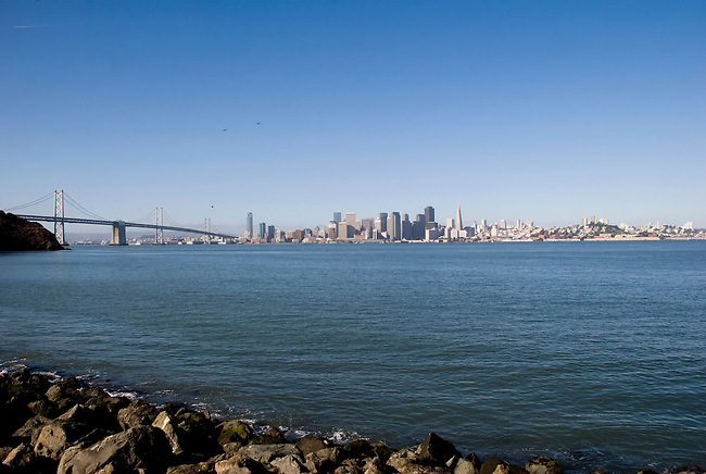 SF Bay Bridge and skyline sceen from Angel Island