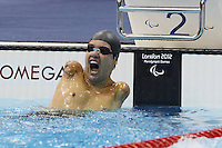 07.09.2012 London, England. Aquatic Centre. Gold medalist Juan Reyes of Mexico Celebrates After the men s 50m Back Stroke S4 Final of The Swimming Event AT The London 2012 Paralympics Games in London