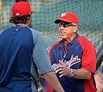 24 July 2012: Washington Nationals Manager Davey Johnson gives instruction to outfielder Michael Morse prior to a game against the New York Mets at Citi Field in Flushing, NY. The Nationals defeated the Mets 5-2 to take the second game of their 3-game series. Mandatory Credit: Ed Wolfstein Photo