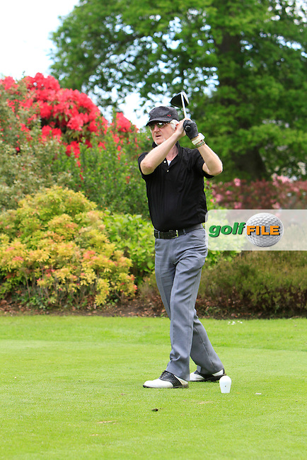 Brendan Barrett (AM) on the 1st tee during Round 2 of The Irish PGA Pro-Am in The K Club on Tuesday 27th May 2014.<br /> Picture:  Thos Caffrey / www.golffile.ie