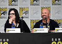 SAN DIEGO COMIC-CON© 2019:  L-R: 20th Century Fox Television's AMERICAN DAD Executive Producer Kara Vallow and Producer Matt Weitzman during the AMERICAN DAD panel on Saturday, July 20 at the SAN DIEGO COMIC-CON© 2019. CR: Frank Micelotta/20th Century Fox Television