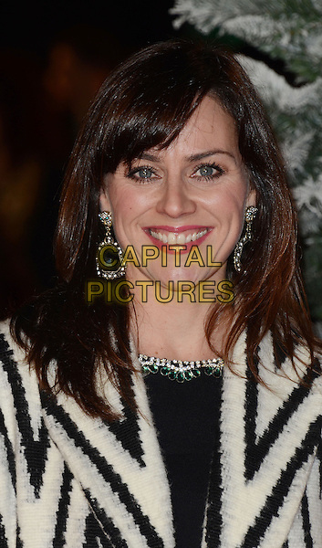 Jill Halfpenny.The 'Nativity 2: Danger In The Manger' world film premiere, Empire cinema, Leicester Square, London, England..November 13th, 2012.headshot portrait dangling earrings  black white zig zag pattern  .CAP/WIZ.© Wizard/Capital Pictures.