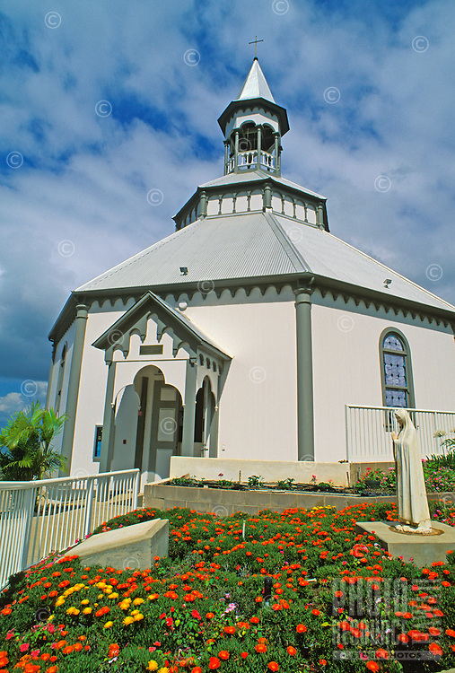 "Holy Ghost Church in Upcountry Kula was built in 1894 and is known as the ""Wedding Cake Church"" because of its unusual configuration."