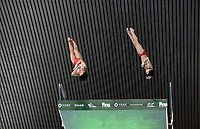 China's Yu Duan and Minjie Zhang compete in the mixed 10m Synchro Platform<br /> <br /> Photographer Hannah Fountain/CameraSport<br /> <br /> FINA/CNSG Diving World Series 2019 - Day 2 - Saturday 18th May 2019 - London Aquatics Centre - Queen Elizabeth Olympic Park - London<br /> <br /> World Copyright © 2019 CameraSport. All rights reserved. 43 Linden Ave. Countesthorpe. Leicester. England. LE8 5PG - Tel: +44 (0) 116 277 4147 - admin@camerasport.com - www.camerasport.com