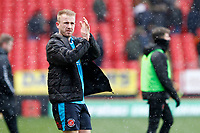 Paddy Madden of Fleetwood Town applauds the travelling fans during the Sky Bet League 1 match between Charlton Athletic and Fleetwood Town at The Valley, London, England on 17 March 2018. Photo by Carlton Myrie.