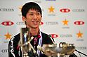Maharu Yoshimura, JANUARY 22, 2012 - Table Tennis : Maharu Yoshimura attends press conference during All Japan Table Tennis Championships Men's Singles at Tokyo Metropolitan Gymnasium, Tokyo, Japan. (Photo by Jun Tsukida/AFLO SPORT) [0003]