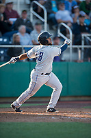 Tri-City Dust Devils third baseman Jose Lezama (18) follows through on his swing during a Northwest League game against the Everett AquaSox at Everett Memorial Stadium on September 3, 2018 in Everett, Washington. The Everett AquaSox defeated the Tri-City Dust Devils by a score of 8-3. (Zachary Lucy/Four Seam Images)