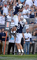 STATE COLLEGE, PA - SEPTEMBER 09:  Penn State TE Mike Gesicki (88) lifts up RB Saquon Barkley (26) after a touchdown. The Penn State Nittany Lions defeated the Pittsburgh Panthers 33-14 in the Keystone Classic September 9, 2017 at Beaver Stadium in State College, PA. (Photo by Randy Litzinger/Icon Sportswire)