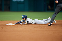 Colorado Springs Sky Sox second baseman Nate Orf (6) slides into second base during a game against the Oklahoma City Dodgers on June 2, 2017 at Chickasaw Bricktown Ballpark in Oklahoma City, Oklahoma.  Colorado Springs defeated Oklahoma City 1-0 in ten innings.  (Mike Janes/Four Seam Images)