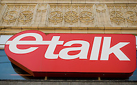 eTalk logo is seen in Toronto April 19, 2010. etalk (formerly eTalk Daily) is a Canadian entertainment news show hosted by Ben Mulroney and Tanya Kim.