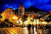 Piazza 9 Aprile and S. Giuseppe Church, Taormina, Sicily, Italy
