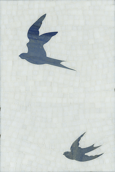 Flight, a natural stone hand cut and waterjet mosaic, is shown in Blue Macauba and polished Thassos .