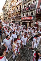 Europe,Spain,Pamplona,San Firmin festival 2018, Encierro, some runners ready to follow the bulls ride