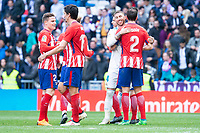 Real Madrid Sergio Ramos and Atletico de Madrid Kevin Gameiro, Stefan Savic and Diego Godin during La Liga match between Real Madrid and Atletico de Madrid at Santiago Bernabeu Stadium in Madrid, Spain. April 08, 2018. (ALTERPHOTOS/Borja B.Hojas) /NortePhoto NORTEPHOTOMEXICO