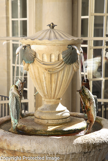 Spa Mineral Water Fountain, Pump Room Tea Room, Roman Baths, Bath, England, UK