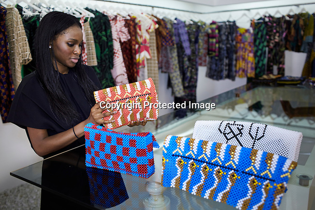 LAGOS, NIGERIA - OCTOBER 28: Designer Lisa Folawiyo, with the design label Jewel by Lisa stands in her shop on October 28, 2013 in Lagos, Nigeria. She is one of Nigeria's most successful designers and sells her fashion in African and internationally. (Photo by: Per-Anders Pettersson)