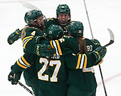 Taylor Willard (UVM - 27), Sammy Kolowrat (UVM - 4), Ali O'Leary (UVM - 14), Éve-Audrey Picard (UVM - 26) -  The Boston College Eagles defeated the University of Vermont Catamounts 4-3 in double overtime in their Hockey East semi-final on Saturday, March 4, 2017, at Walter Brown Arena in Boston, Massachusetts.
