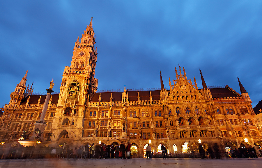 New Rathaus at twilight, Marienplatz, Old Town Munich, München, Bavaria, Germany, Deutschland, Europe