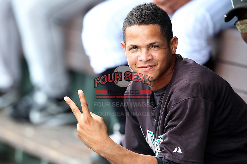 Yeison Hernandez #1 of the Florida Marlins instructional League team gestures for the camera during a game against the Italian National Team at the Roger Dean Stadium in Jupiter, Florida;  September 27, 2011.  Italy is training in Florida for the Baseball World Cup.  (Mike Janes/Four Seam Images)