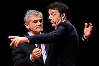 Il candidato alla Presidenza della Regione Piemonte Sergio Chiamparino e il Presidente del Consiglio Matteo Renzi <br /> Sergio Chiamparino, candidate for President of the Piemonte region and the italian Premier Matteo Renzi <br /> Torino 12-04-2014 PalaIsozaki <br /> Apertura Campagna elettorale elezioni europee Partito Democratico <br /> Opening European elections campaign of the Democratic Party<br /> Foto Giorgio Perottino / Insidefoto