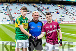 The Kerry Captain Sean O'Shea and Galway Captain Desmond Conneely in the All Ireland Football Final in Croke Park on Sunday.