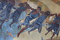 Fresco of dancers, 1931, by Maurice Guy-Loe, pseudonym of Maurice Guyot, 1898-1991, in the Salon de Musique or Music Room of the Fondation Deutsch de la Meurthe, designed by Lucien Bechmann, 1880-1968, built 1923-35 and inaugurated in 1925, in the Cite Internationale Universitaire de Paris, in the 14th arrondissement of Paris, France. This was the first residence built at CIUP and was influenced by the style of English University colleges at Oxford and consists of 7 pavilions around a garden. The buildings are listed as a historic monument. The CIUP or Cite U was founded in 1925 after the First World War by Andre Honnorat and Emile Deutsch de la Meurthe to create a place of cooperation and peace amongst students and researchers from around the world. It consists of 5,800 rooms in 40 residences, accepting another 12,000 student residents each year. Picture by Manuel Cohen. Further clearances may be requested.