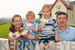 KEEPING COOL: Enjoying home made ice cream at  Valentia Island Farmhouse Ice Cream on Thursday last were the owners of the business Caroline and Joe Daly and their children Matthew (3) and Philip (1).