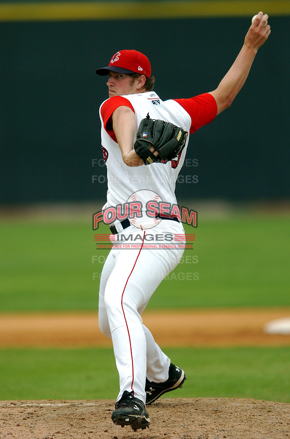 RHP Tom Ebert of the Lowell Spinners, the short season NY-P affiliate of the Boston Red Sox ,at LeLacheur Field in Lowell, MA on August 9, 2009. Ebert was Boston's 19th round pick in the 2009 draft. (Photo by Ken Babbitt/Four Seam Images)