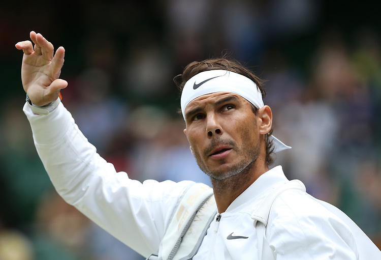 Rafael Nadal (ESP) enters the court prior to his match against Joao Sousa (POR) in their Gentleman's Singles Third Round match<br /> <br /> Photographer Rob Newell/CameraSport<br /> <br /> Wimbledon Lawn Tennis Championships - Day 7 - Monday 8th July 2019 -  All England Lawn Tennis and Croquet Club - Wimbledon - London - England<br /> <br /> World Copyright © 2019 CameraSport. All rights reserved. 43 Linden Ave. Countesthorpe. Leicester. England. LE8 5PG - Tel: +44 (0) 116 277 4147 - admin@camerasport.com - www.camerasport.com