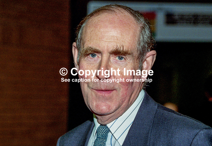 Peter Brooke, MP, UK, Conservative Party, former Secretary of State for N Ireland, 199610340.<br /> <br /> Copyright Image from Victor Patterson, 54 Dorchester Park, <br /> Belfast, UK, BT9 6RJ<br /> <br /> t1: +44 28 9066 1296 (from Rep of Ireland 048 9066 1296)<br /> t2: +44 28 9002 2446 (from Rep of Ireland 048 9002 2446)<br /> m: +44 7802 353836<br /> <br /> e1: victorpatterson@me.com<br /> e2: victorpatterson@gmail.com<br /> <br /> www.victorpatterson.com<br /> <br /> Please see my Terms and Conditions of Use at www.victorpatterson.com. It is IMPORTANT that you familiarise yourself with them.<br /> <br /> Images used on the Internet must be visibly watermarked i.e. &copy; Victor Patterson within the body of the image and copyright metadata must not be deleted. Images used on the Internet have a size restriction of 4kbs and will be chargeable at current NUJ rates unless agreed otherwise.<br /> <br /> This image is only available for the use of the download recipient i.e. television station, newspaper, magazine, book publisher, etc, and must not be passed on to any third party. It is also downloaded on condition that each and every usage is notified within 7 days to victorpatterson@me.com<br /> <br /> The right of Victor Patterson to be identified as the author is asserted in accordance with The Copyright Designs And Patents Act (1988).