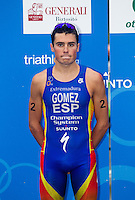 11 SEP 2010 - BUDAPEST, HUN - Javier Gomez waits for the start of the medal ceremony for the 2010 Elite Mens ITU World Championship Series Triathlon final (PHOTO (C) NIGEL FARROW)