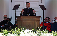 UVa president John Casteen, left, and UVa Rector Thomas Farrell, right, laugh as Governor Tim Kaine, middle, addresses the graduating class during the 2006 Graduation ceremonies held Sunday May 21, 2006 at the University of Virginia in Charlottesville, Va.