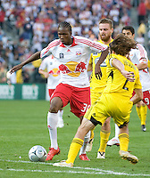 Macoumba Kandji dribbles against Frankie Hejduk during MLS Cup 2008. Columbus Crew defeated the New York Red Bulls, 3-1, Sunday, November 23, 2008. Photo by John Todd/isiphotos.com