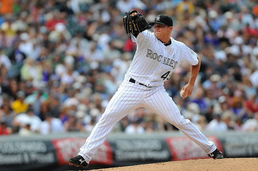 19 JUNE 2011: Colorado Rockies relief pitcher Rex Brothers (49) during a regular season interleage game between the Detroit Tigers and the Colorado Tigers beat the Rockies 9-1.   *****For Editorial Use Only*****