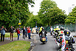 LONDON, ENGLAND, 22 May ,2014.  Members of the public watch bikers travelling to Woolwich to mark the first anniversary of the murder of Fusilier Lee Rigby  near his Woolwich barracks.