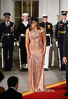 First Lady Michelle Obama welcomes Prime Minister of Italy Matteo Renzi and Mrs. Agnese Landini at the North Portico  of the White House on October 18, 2016 in Washington, DC. <br /> Credit: Olivier Douliery / Pool via CNP / MediaPunch