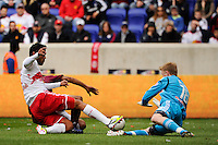 Goalkeeper Ryan Meara of the New York Red Bulls comes off his line to make a save during the first half against the Colorado Rapids during a Major League Soccer (MLS) match at Red Bull Arena in Harrison, NJ, on March 25, 2012.