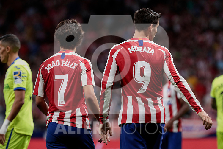 Atletico de Madrid's Joao Felix (L) and Alvaro Morata (R) during La Liga match between Atletico de Madrid and Getafe CF at Wanda Metropolitano Stadium in Madrid, Spain. August 18, 2019. (ALTERPHOTOS/A. Perez Meca)
